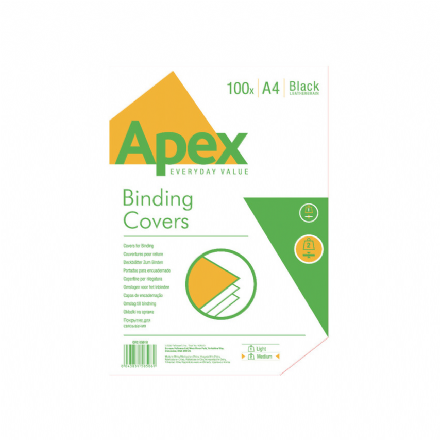 Apex A4 Binding Covers Black Leatherboard. Pk 100